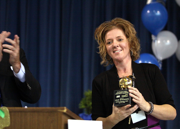 Parkwood Elementary School fifth-grade teacher Sarah Hockersmith was named the WHAS ExCEL award winner and Greater Clark County Schools Teacher of the Year on Wednesday afternoon. Staff photo by C.E. Branham
