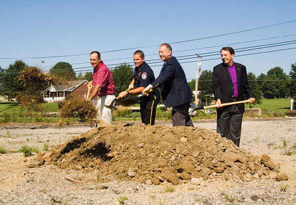 From left, Jeffersonville's City Council Vice President Dennis Julius, Police Chief Chris Grimm, Mayor Mike Moore, and The Estopinal Group President R. Wayne Estopinal break ground on the new site of the Jeffersonville Police Station Headquarters along East 10th Street in Jeffersonville on Monday morning. Staff photo by Christopher Fryer