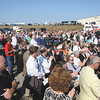 A large crowd assembled on the Eagle Steel dock at the Port of Indiana in Jeffersonville Thursday to watch the groundbreaking for the East End Bridge Crossing. Staff photo by C.E. Branham
