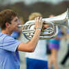Nick Windhurst, a freshman at Floyd Central High School, practices with the Highlander Band on Thursday as they prepare for Saturday's ISSMA state finals. This will be the band's fourth consecutive trip to the state competition. Staff photo by Jerod Clapp