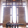 The cross at the back of the sanctuary will be filled with stained glass when work is completed on the new St. Mary of The Knobs Catholic Church.  Staff photo by C.E. Branham