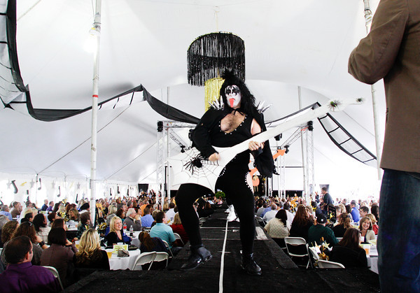 Bassist Gene Simmons of the rock group KISS is portrayed during festivities at the Hooray for Hollywood Harvest Homecoming Business Luncheon along the New Albany waterfront on Friday afternoon. Staff photo by Christopher Fryer