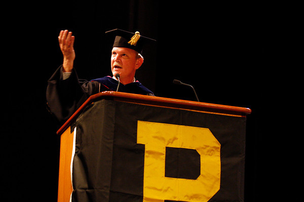 Andrew Schaffer, executive director for statewide technology for Purdue University College of Technology, speaks at the college's commencement on Thursday. Staff photo by Jerod Clapp