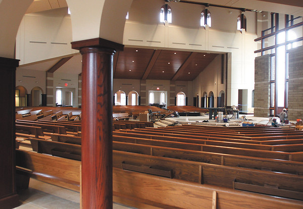 Interior of the new St. Mary of the Knobs Catholic Church.  Staff photo by C.E. Branham