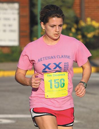 Silver Creek High School student Rachel Clemons won the women's race in The Shamrock. Staff photo by C.E. Branham