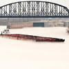 A barge heads up the Ohio River through a thick fog on Saturday afternoon. Staff photo by Christopher Fryer