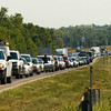 West bound traffic sits at a stand still while emergency crews work the scene of a four vehicle injury accident along Interstate 265 below Klerner Lane on Wednesday morning in New Albany. The approximate time of the wreck was 9:30 a.m. Staff photo by Christopher Fryer