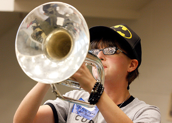 Beth Brunmeier, a senior, rehearses for Floyd Central's Highlander Band upcoming competition on Saturday. The band made it to the ISSMA state finals. Staff photo by Jerod Clapp