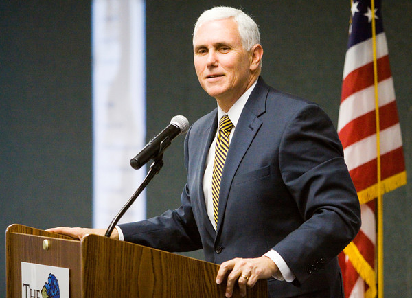 Gov. Mike Pence speaks during a luncheon with the Windsor Group, an Indianapolis-based investment company, at the Prosser Career Education Center in New Albany on Friday afternoon. Staff photo by Christopher Fryer