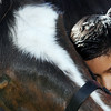 Nine-year-old Ethan Vaughn embraces Bear, an Irish Draught horse, during the grand opening for Valvoline Instant Oil Change Wednesday morning off Allison Lane in Jeffersonville. Valvoline will donate some of the day's proceeds to Opening Gates, a local nonprofit equine therapy program at Hunters Brook Farm in Jeffersonville. Vaughn worked with Bear for 12 weeks to help treat his ADHD. Bear's naturally stubborn behavior helped Vaughn improve his patience and impulse control.<br /> Staff photo by Tyler Stewart