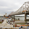 Crews work on the downtown crossing of the Ohio River Bridges Project on Friday afternoon. Staff photo by Christopher Fryer