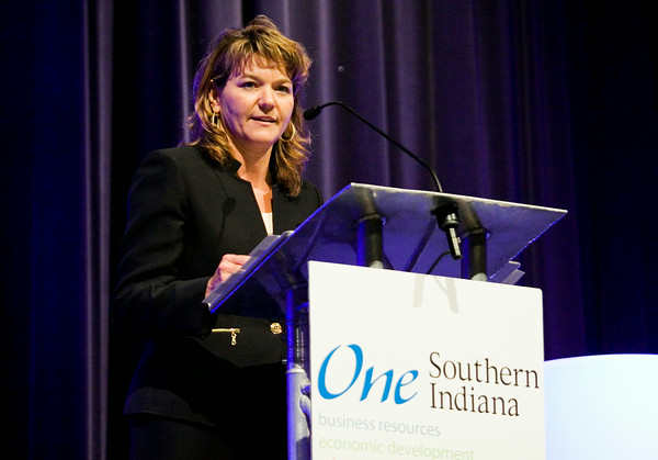 One Southern Indiana President and CEO Wendy Dant Chesser speaks during the chamber's annual meeting at Northside Christian Church in New Albany on Tuesday afternoon. Staff photo by Christopher Fryer