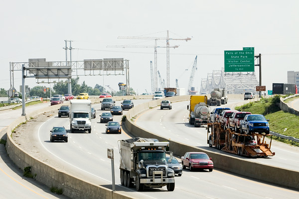 North and southbound traffic moves along Interstate 65 in Jeffersonville on Monday afternoon. Each direction of travel will be reduced to two lanes between the Kennedy Bridge and Brown's Station Way starting Sept. 2. Staff photo by Christopher Fryer