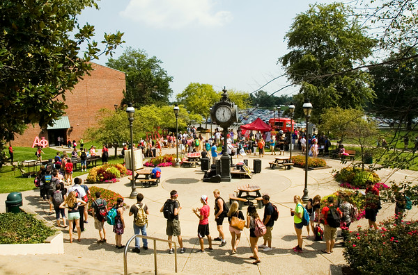 Students gather in McCullough Plaza during Week of Welcome festivities at Indiana University Southeast in New Albany. Staff photo by Christopher Fryer