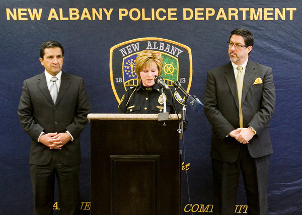 New Albany Police Chief Sherri Knight speaks about a drug bust carried out by her department early Wednesday morning during a press conference at the City-County Building in downtown New Albany on Wednesday afternoon. According to Chief Knight, the bust was the largest in the city's history. Staff photo by Christopher Fryer