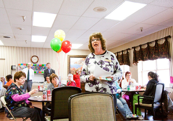 Administrator Julie Hartlage, Louisville, speaks at Lincoln Hills Health Center on Thursday afternoon during a party to celebrate the facility's perfect score with zero deficiencies on the Indiana Department of Health Annual Survey. Only 10 percent of about 450 facilities in the state do this well on the annual survey. Staff photo by Christopher Fryer