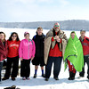 Team Shock n Thaw gather for a picture after jumping into Deam Lake for the Polar Plunge Saturday. The event is held each year at the lake, and proceeds go to support Special Olympics.<br /> Staff photo by Tyler Stewart