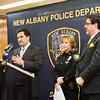 Floyd County Prosecutor Keith Henderson, left, discusses a drug bust carried out by the New Albany Police Department early Wednesday morning during a press conference at the City-County Building in downtown New Albany on Wednesday afternoon. According to New Albany Police Chief Sherri Knight, the bust was the largest in the city's history. Staff photo by Christopher Fryer