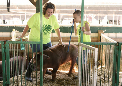Calvin Mullins, 9, and his mother, Christy, Marysville, work together to guide their swine, Clark, from his pen in the stables of the Clark County 4-H fairgrounds Thursday morning. Both Christy and Calvin underwent recent surgeries to remove masses from their torsos. While Christy was in the midst of her medical scare, doctors found a tumor on Calvin's spine after he complained of chest pains while breathing.  Staff photo by Tyler Stewart