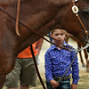 Taylor Warren, 8, waits beside her horse, Ronie, before heading into the arena to compete in the Trail Class event at the Clark County 4-H fairgrounds Saturday. Riders participating in this event compete against themselves, working to improve judging scores each attempt. <br /> Staff photo by Tyler Stewart