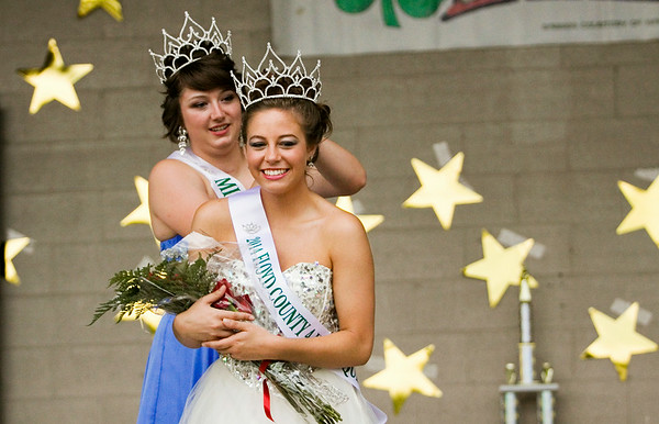 Audrey Wilson, 18, Floyds Knobs, reacts after being named the 2014 Floyd County 4-H Fair Queen at the fairgrounds in New Albany on Monday evening. The fair runs through Saturday July 12. Staff photo by Christopher Fryer