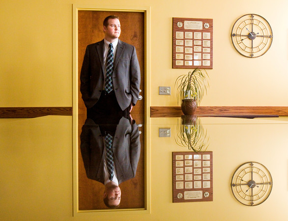 Clarksville Redevelopment Director Nick Lawrence stands in a conference room at the Clarksville Municipal Government Center last month. Staff photo by Christopher Fryer