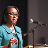 Gloria Murray, dean of the School of Education at Indiana University Southeast, speaks about good citizenship for civil rights at the New Albany-Floyd County Consolidated School Corporation's Dr. Martin Luther King Commemorative Dinner on Tuesday. She said to keep the issue of civil rights in focus, people need the will to affect change in their communities. Staff photo by Jerod Clapp