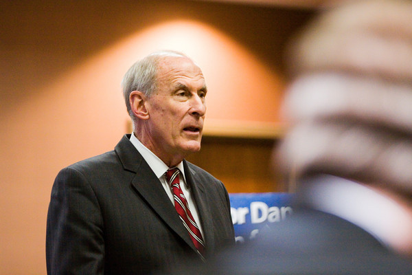 U.S. Sen. Dan Coats speaks to local business leaders and elected officials during a press conference to announce his plans for 2014 at One Southern Indiana in New Albany on Thursday afternoon. Staff photo by Christopher Fryer