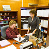 Floyd County Superior Court No. 3 Judge Maria Granger, New Albany, files re-election paperwork with Floyd County Clerk Christy Eurton, Georgetown, in the City-County Building in downtown New Albany on Wednesday afternoon. Staff photo by Christopher Fryer