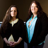 Amy Bennett, left, and Ashleigh Hendricks-Santiago, both of Louisville, stand in downtown Jeffersonville on Wednesday afternoon. Staff photo by Christopher Fryer