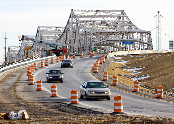 Traffic moves down Exit 0 off of Interstate 65 in Jeffersonville on Monday afternoon. Staff photo by Christopher Fryer