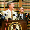 U.S. Department of Justice Senior Litigation Counsel Brad Blackington, left, speaks about a grand jury indictment surrounding Clark County Sheriff Daniel Rodden and his alleged involvement with a prostitute during a press conference at the Lee H. Hamilton Federal Building in downtown New Albany on Tuesday afternoon. Staff photo by Christopher Fryer
