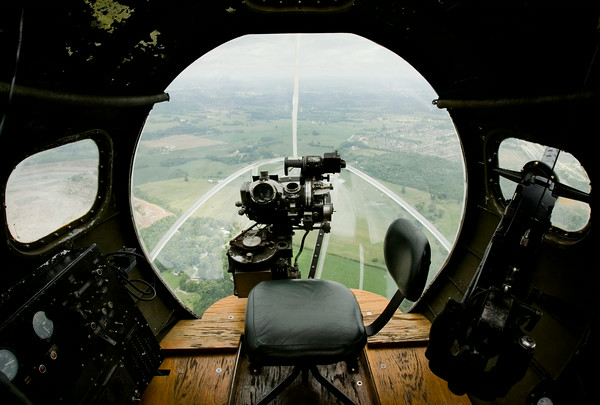 "A bombardier sight is pictured in the nose of a B-17 bomber as it flies above Louisville and southern Indiana on a media flight as part of The Liberty Foundation's 2014 Salute to Veterans tour. The plane, which dates back to 1945, was used in the 1990 film ""Memphis Belle"", and is one of only 12 B-17 bombers in the world that are still able to fly. Staff photo by Christopher Fryer"