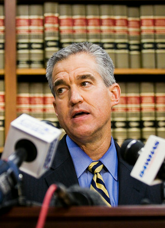 First Assistant U.S. Attorney Josh Minkler speaks about a grand jury indictment surrounding Clark County Sheriff Daniel Rodden and his alleged involvement with a prostitute during a press conference at the Lee H. Hamilton Federal Building in downtown New Albany on Tuesday afternoon. Staff photo by Christopher Fryer
