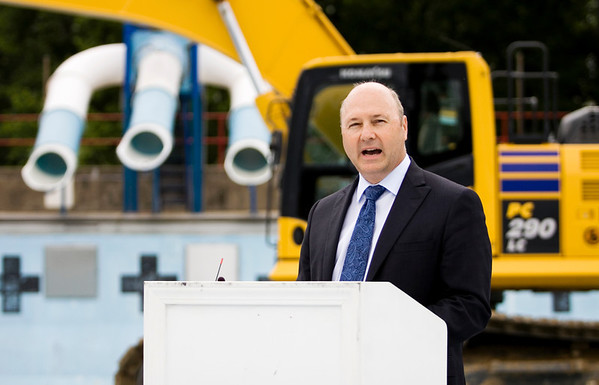 New Albany Mayor Jeff Gahan speaks during a groundbreaking ceremony at the site of the new aquatic center along Daisy Lane on the site of the former Camille Wright Pool in New Albany on Monday morning. Staff photo by Christopher Fryer