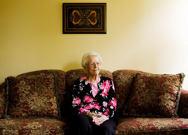 Anne McCormick, 94, sits in her suite at the Villages of Historic Silvercrest in New Albany on Monday afternoon. McCormick served in the Army Nurse Corps during World War II from 1941-1944 at Camp Huckstep near Cairo. Staff photo by Christopher Fryer