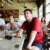 Brandon Smith, New Albany, center, and other soccer fans react as they watch the U.S. attempt to score in the final minutes of the American team's World Cup match against Germany at the Bank Street Brewhouse in New Albany on Thursday afternoon. Germany won the game, 1-0, but the U.S. will still move into the next round of play. Staff photo by Christopher Fryer