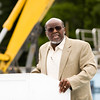 Irving Joshua, the president of the New Albany Redevelopment Commission, speaks during a groundbreaking ceremony at the site of the new aquatic center along Daisy Lane on the site of the former Camille Wright Pool in New Albany on Monday morning. Staff photo by Christopher Fryer