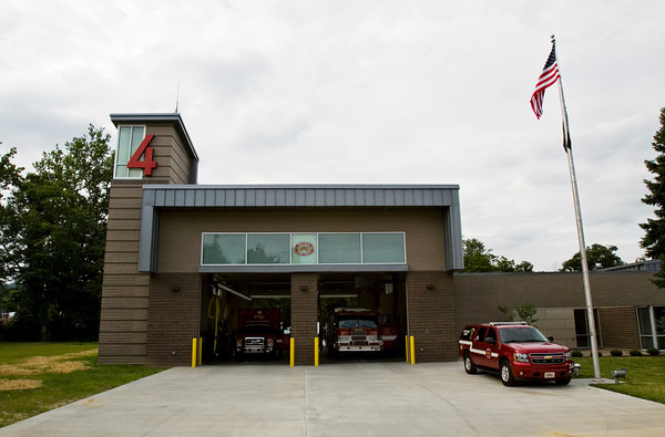 The New Albany Fire Department's new station is pictured along Daisy Lane during the grand opening of the facility in New Albany on Monday evening. Staff photo by Christopher Fryer