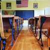 The grades one through three classrooms at Division Street School, the two-room schoolhouse that was restored in 2006 through the efforts of Kathryn Hickerson and Vic Megenity. Photo by Aprile Rickert