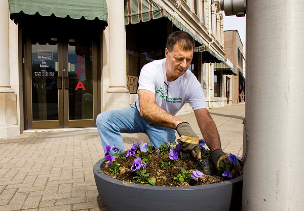 Keep New Albany Clean and Green Vice President Jerry Finn, Starlight, places pansies in a planter along East Main Street in downtown New Albany on Monday afternoon. The organization maintains 60 planters in the downtown area, and rotates the plant life seasonally. Staff photo by Christopher Fryer