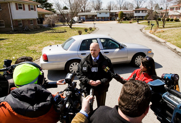 Jeffersonville Police Department Detective Todd Hollis speaks to members of the media following a standoff along the 1700 block of Birch Bark Lane on Monday afternoon. The suspect took his own life with a rifle. No others were injured during the incident. Staff photo by Christopher Fryer
