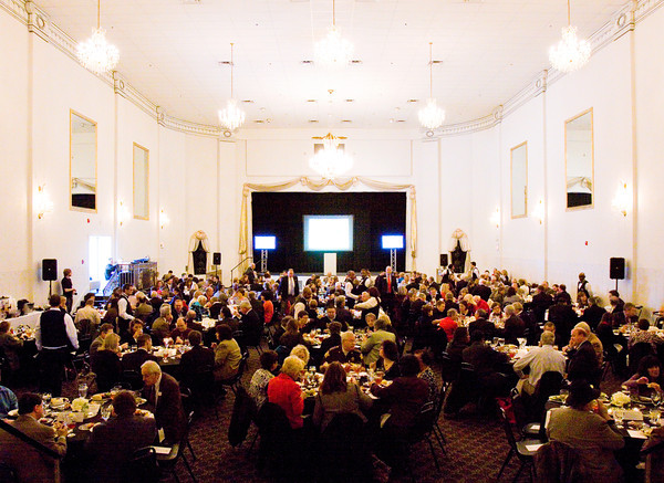 Attendees have lunch during an event on regionalism and philanthropy put on by the Community Foundation of Southern Indiana at The Grand in downtown New Albany on Wednesday afternoon. Staff photo by Christopher Fryer