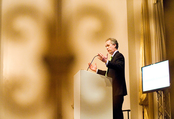 Louisville Mayor Greg Fischer speaks during a presentation on regionalism and philanthropy put on by the Community Foundation of Southern Indiana at The Grand in downtown New Albany on Wednesday afternoon. Staff photo by Christopher Fryer