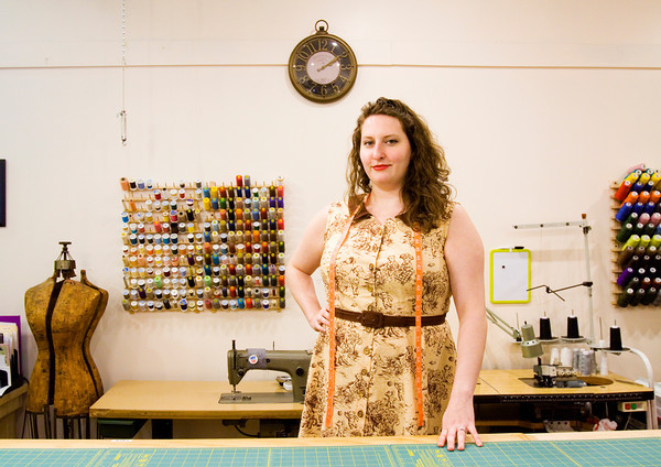 Owner Cisa Barry stands inside of her alterations and custom creation shop Sew Fitting in downtown New Albany. Staff photo by Christopher Fryer