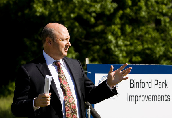 New Albany Mayor Jeff Gahan speaks during a ground breaking ceremony for the Binford Park improvements project in New Albany on Monday morning. Staff photo by Christopher Fryer