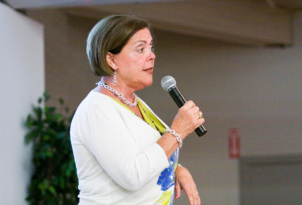 Kevin Sue Bailey speaks to her fellow Democrats at the Knights of Columbus in New Albany on Tuesday evening. She ran unopposed as the Democratic nominee for State Representative District 72. Staff photo by Christopher Fryer