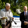 Steve Sipes, president of the New Albany Parks Board, speaks during a ground breaking ceremony for the Binford Park Improvements project in New Albany on Monday morning. Staff photo by Christopher Fryer