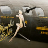 "Nose art is pictured on the port side of a B-17 bomber at the Clark County Airport as part of The Liberty Foundation's 2014 Salute to Veterans tour. The plane, which dates back to 1945, was used in the 1990 film ""Memphis Belle"", and is one of only 12 B-17 bombers in the world that are still able to fly. Staff photo by Christopher Fryer"