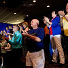 Ted Cruz supporters cheer for the presidential candidate as he gives a speech during a rally at Huber's Orchard and Winery in Starlight on Monday ahead of Indiana's primary election next Tuesday. Staff photo by Christopher Fryer